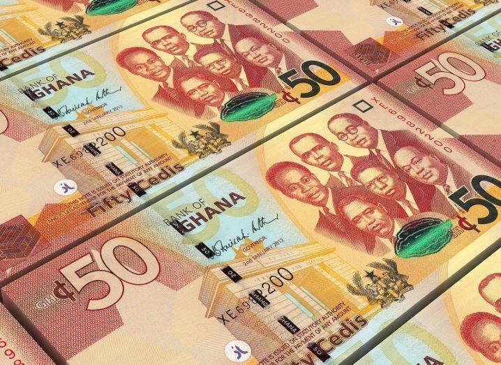 Row of Ghanaian 50 cedi bills.