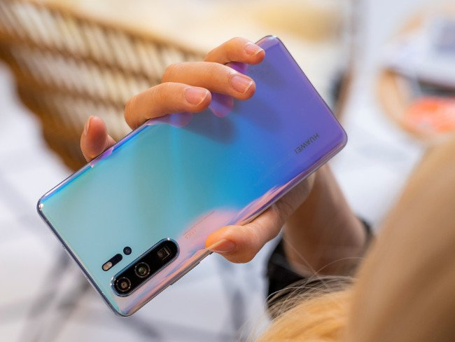 Close-up of the new Huawei P30 series with a quad-camera array.
