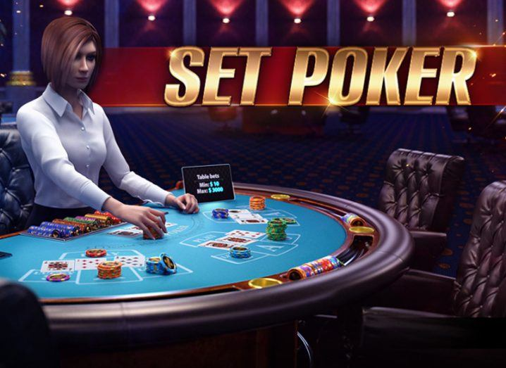Screenshot from a set poker game made by KamaGames showing a woman dealing chips at a casino.