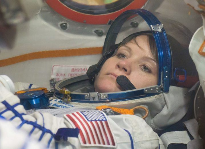 Astronaut Anne McClain in her spacesuit aboard the Soyuz spacecraft.