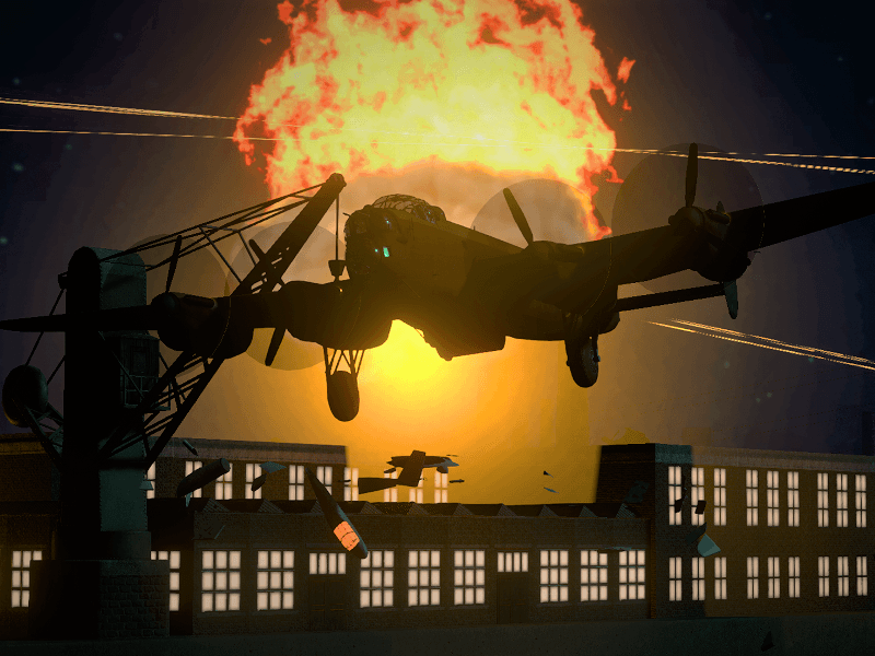 Image of a World War 2 bomber dropping bombs over a factory in a VR game.