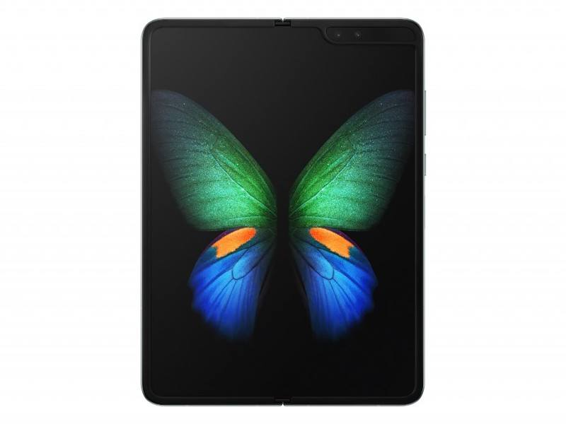 Picture of Samsung's foldable phone Galaxy Fold with a green and blue butterfly on the screen.