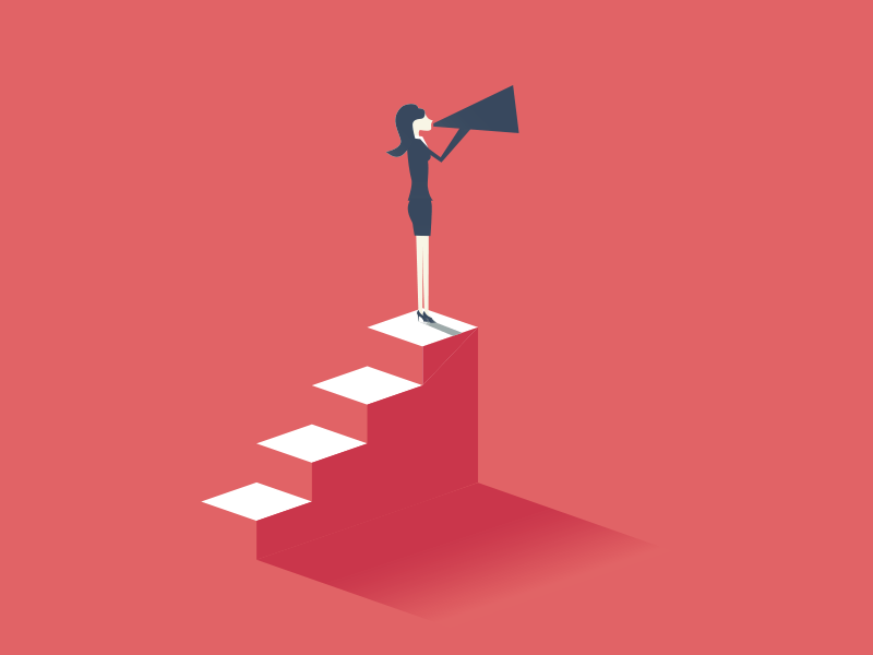 Illustration on a red background of a woman standing atop a set of stairs, speaking into a megaphone.