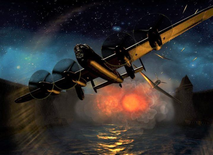 Image showing a bomber careening away from an exploding dam.