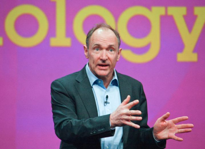 Inventor and founder of World Wide Web Tim Berners-Lee delivers an address on stage.