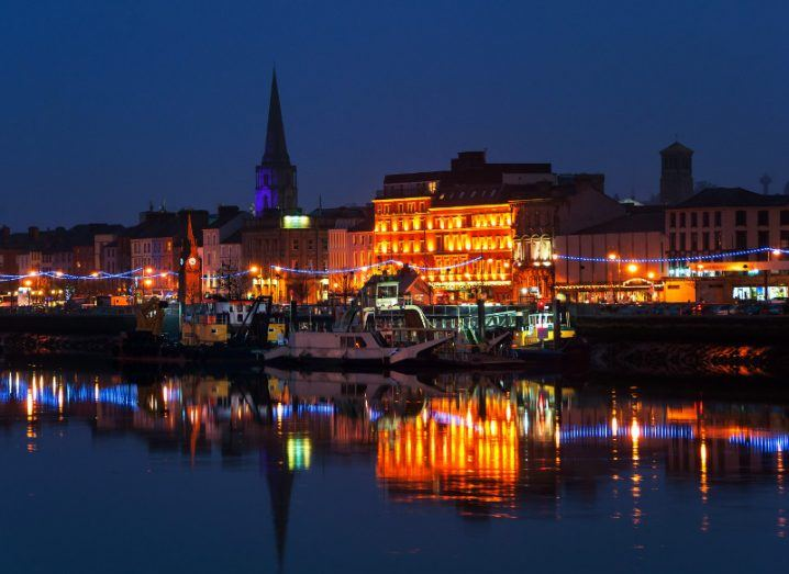 A view of the harbour front in Waterford at night.