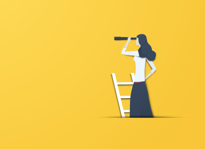 Illustration on a yellow background of a woman standing at the top of a ladder, looking into the distance with a telescope.