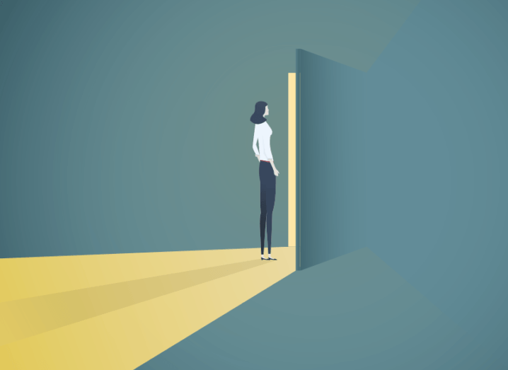 Illustration of a woman in a darkened room standing a doorway that's opened slightly, flooding her with yellow light.