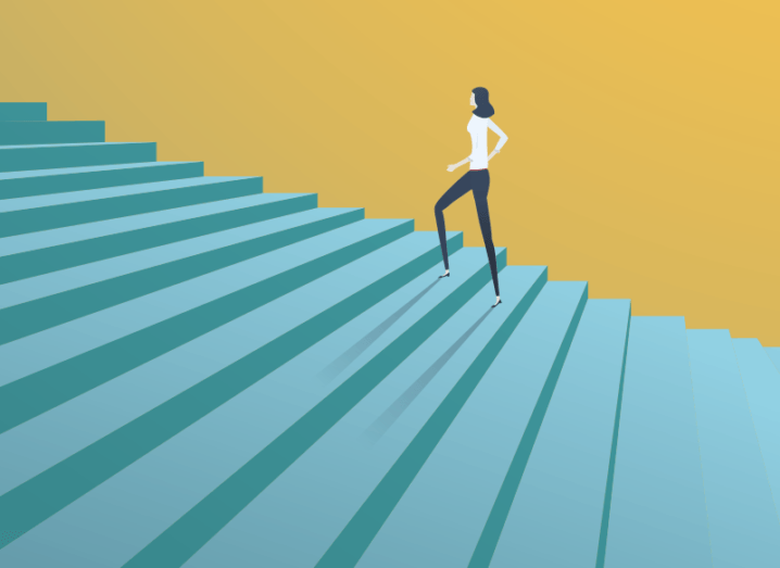 Illustration of a woman walking up a set of blue stairs against a yellow background.