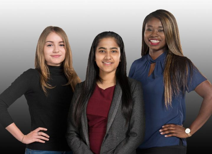 Three young women who are Sky women in tech scholars pose before a grey background.