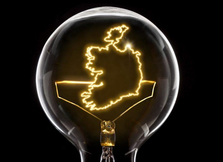Clean and shiny lightbulb with Ireland as a glowing wire.