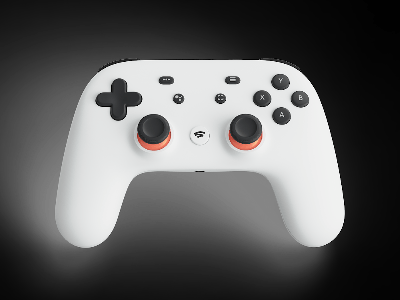 Close-up of a new white gamepad device from Google called the Stadia controller.