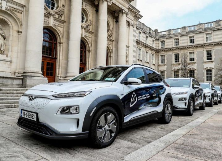 A fleet of electric cars outside Irish Government buildings.