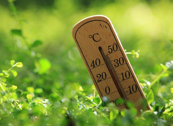 Old wooden thermometer slanted and sticking out from a grassy field, symbolising global warming.