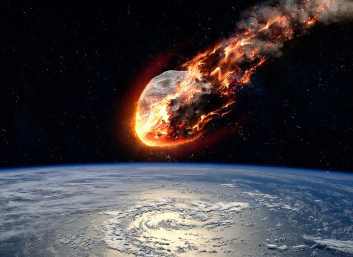 Flaming asteroid about to hit Earth.