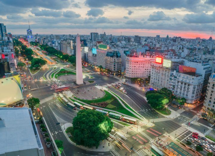 A view of the centre of the city of Buenos Aires at dusk.