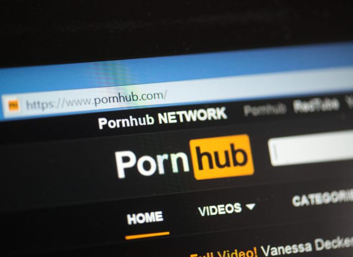 View of the Pornhub home page loaded on a computer screen.