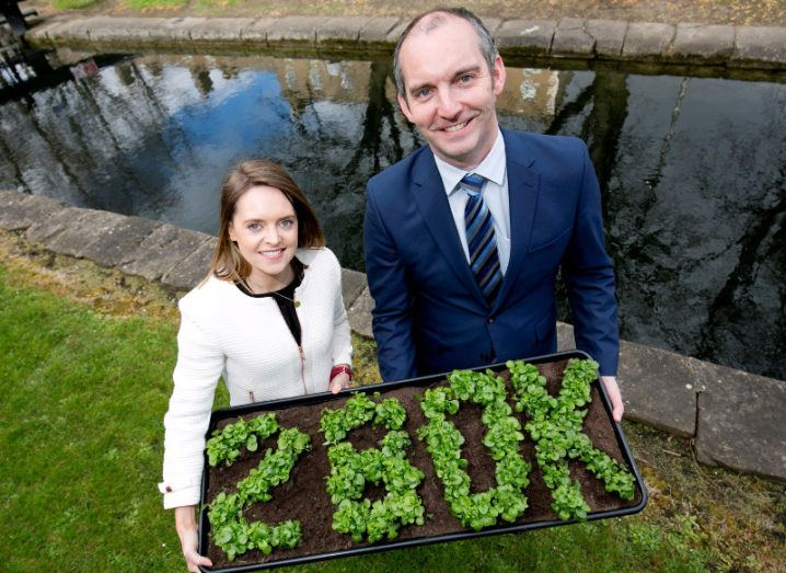 A woman in a white suit and a man in a navy suit hold a bedding plant in the shape of 280K, symbolising funding.