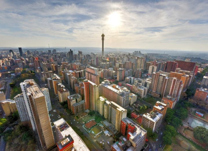 A view of the city of Johannesburg with the Hillbrow Tower in the centre.