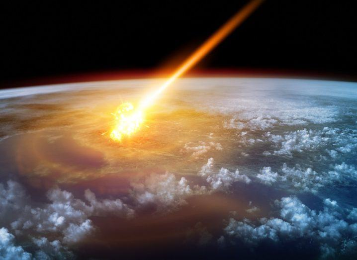 Depiction of a huge asteroid entering Earth's atmosphere.
