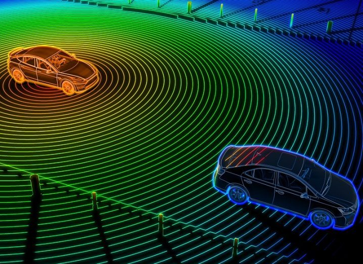 Multicoloured graphic showing LiDAR signals emitting from a vehicle and bouncing off a nearby car.