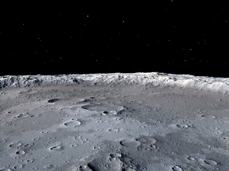 Illustration of the surface of the moon against a black background.