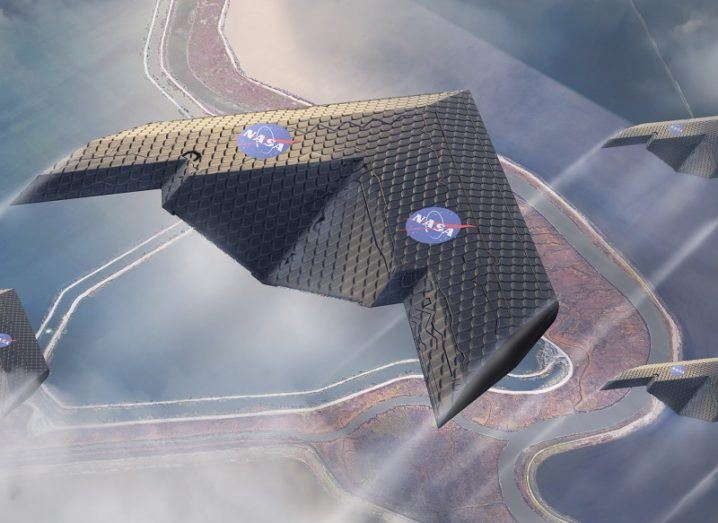 Concept shot of three delta-winged aircraft flying in formation built with the new wing design.