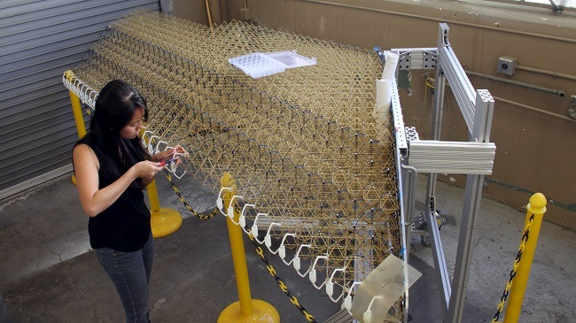Researcher examining the lattice structure of the new wing design.