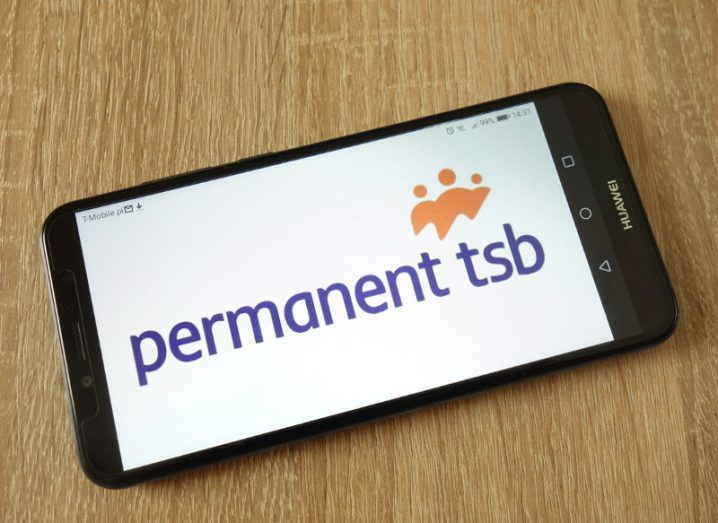 Picture of a smartphone running a Permanent TSB mobile application.