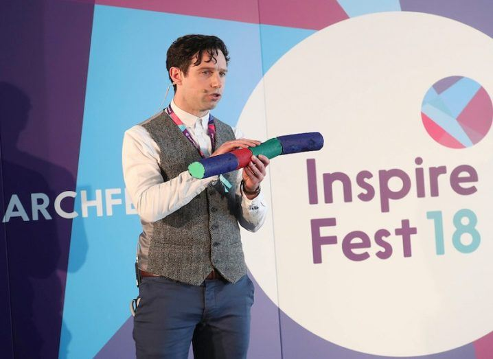 Researchfest 2018 winner Eoin Murphy on the second stage of Inspirefest 2018 presenting his research.