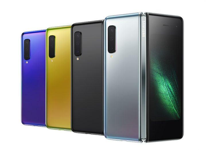 a colourful line-up of new Samsung Galaxy Fold smartphones.