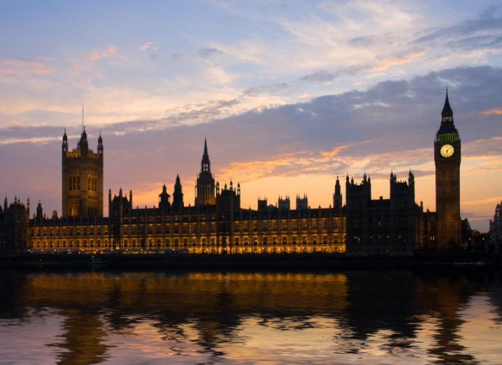 House of parliament and Big Ben at sunset.