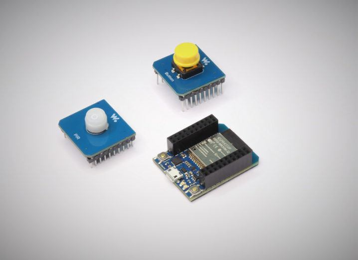 Three electronic modules for makers and inventors made by Irish company Wia.