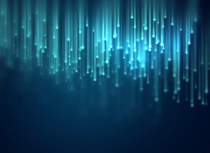 Blue fibre strands on a navy background, symbolising broadband.