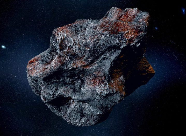 3D render of a large asteroid in space.