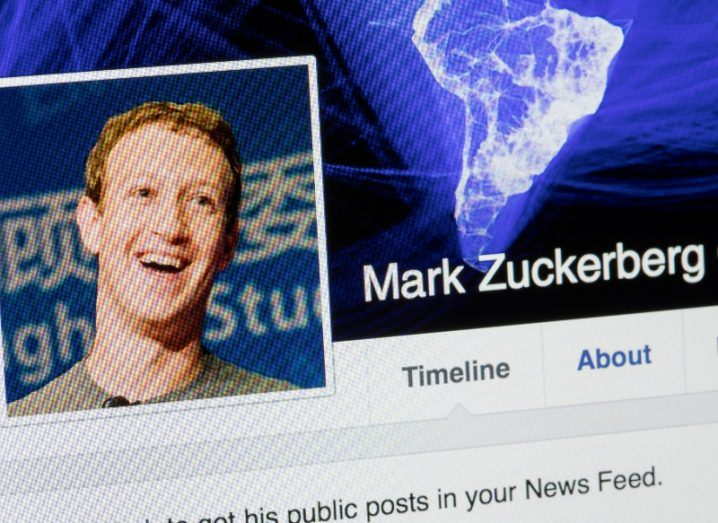 view of a desktop screen showing facebook profile of company's co-founder and CEO Mark Zuckerberg.