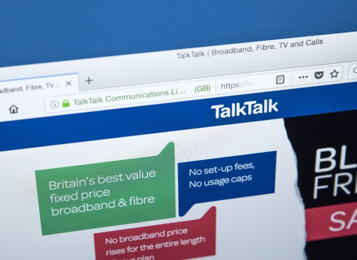 View of TalkTalk company website on a computer screen.