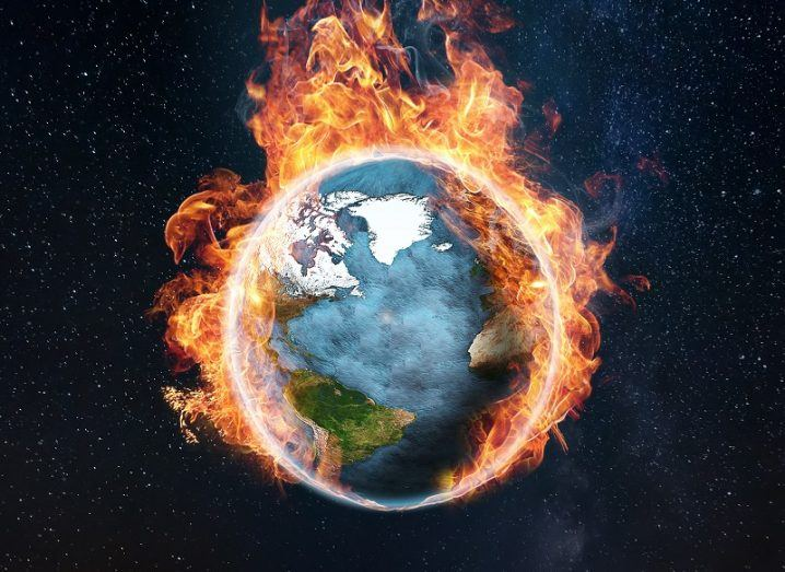 Illustration of the Earth catching fire.