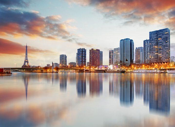 Paris skyline with Eiffel tower in background.