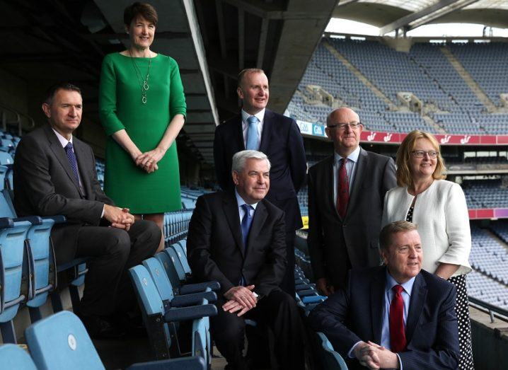Various members of IDA Ireland and Enterprise Ireland sitting on the audience seats in Croke Park, Dublin.