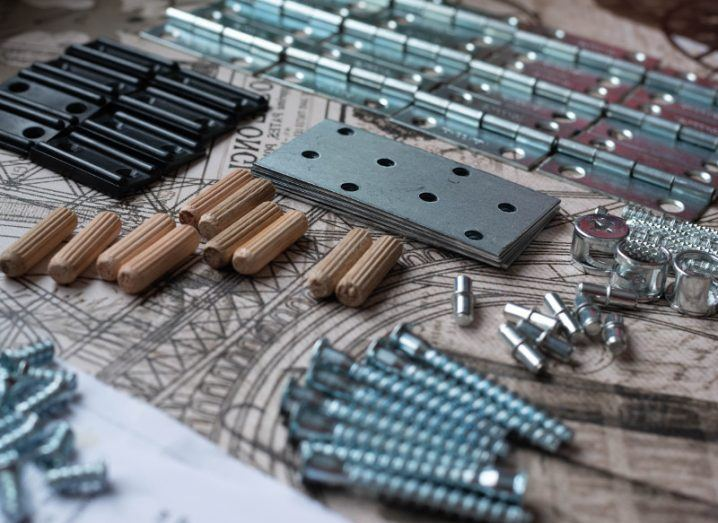 View of screws and tools to assemble a flatpack.