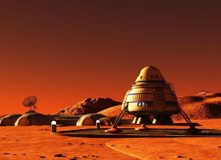 3D render of a lander and small colony on the surface of Mars.