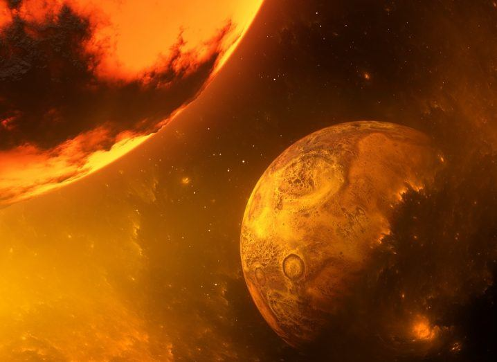 Illustration of Earth about to be hit by the fiery protoplanet Theia.