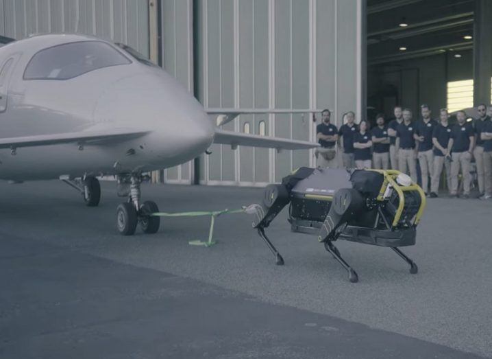The HyQReal robot about to pull a small aircraft as researchers watch on the sidelines.