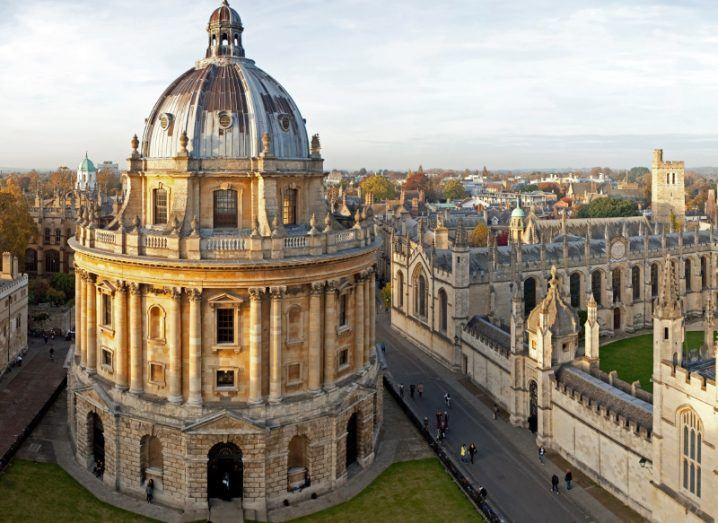 View of Oxford University campus and the buildings and rolling greens therein.