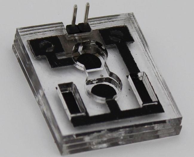 Close-up of the transparent bacteria-powered biobattery with black diodes.