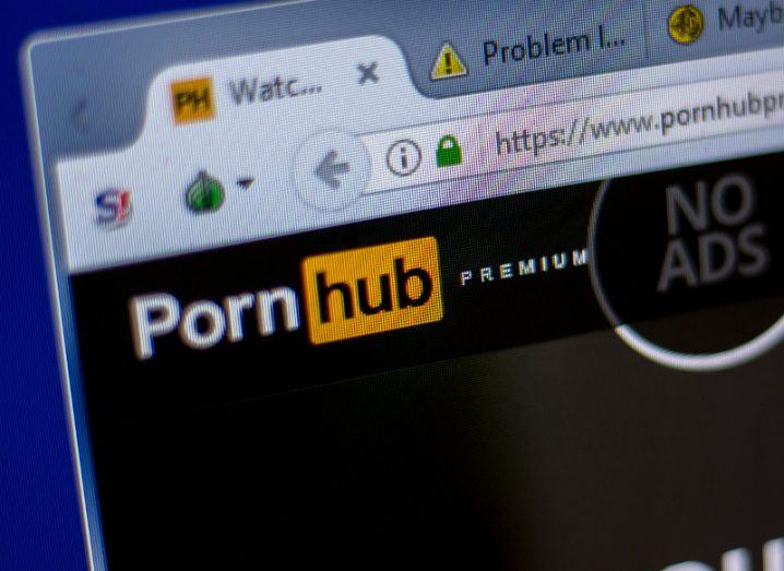 View of PornHub website open in a tab on a browser on a desktop screen.