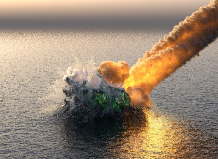 3D illustration of a fiery meteorite striking a vast ocean.