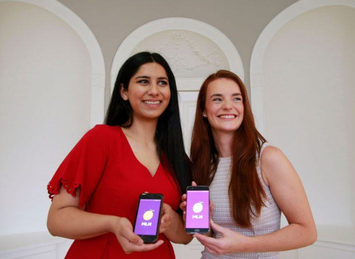 Students Manal Mukhtar and Ellen Le Bas showcasing their app MLN (which is pronounced 'Melon').
