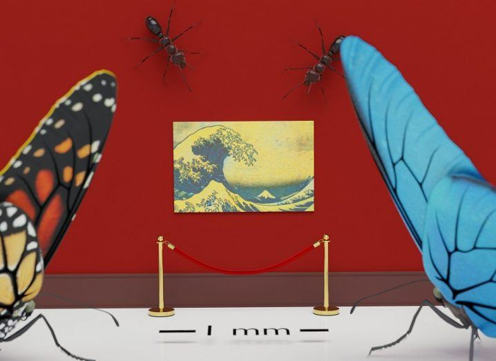 The tiny Great Wave painting behind a velvet rope on a red wall with two butterflies and two ants admiring it.